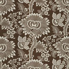 Montbard in Cocoa from Brunschwig & Fils #fabric #linen #cotton #brown #floral