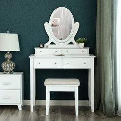 Lugenia Vanity Set with Mirror Vanity Set With Mirror, Makeup Dressing Table, Vanity, Decor, Table Sizes, Vanity Table Set, Table Settings, Table, Home Decor