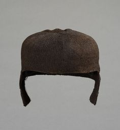 1500-1550 Cap from England  knitted wool and fulled  click on link for side views and back. This cap is a close fitted coif, lower in the back over the neck.
