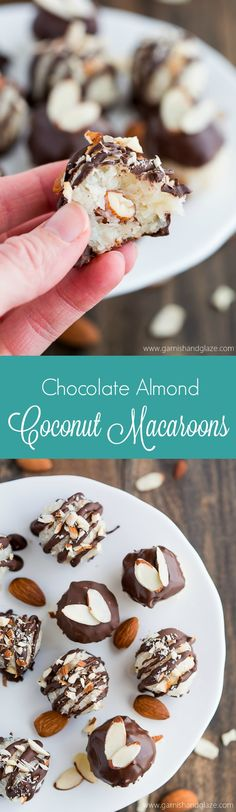 Chocolate Almond Coconut Macaroons are the perfect two bite treat that are sure to satisfy your sweet tooth.