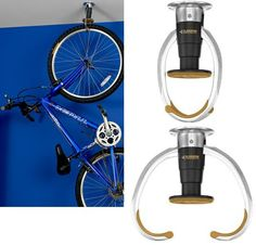 Hanging Bike Storage Design With Blue Wall, vertical bike storage, garage bike storage ~ Home Design Bike Storage Design, Bike Storage Home, Bike Storage Apartment, Indoor Bike Storage, Bicycle Storage, Outside Bike Storage, Vertical Bike Storage, Bike Hooks, Bike Rack