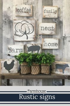 Rustic farmhouse style mini wood signs. I really love the cotton boll! #farmhousedecor #ad #etsy #woodsigns