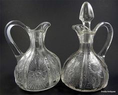 Pair(2)Paneled Thistle Cruet Antique Blown EAPG Higbee Jefferson Glass Panelled