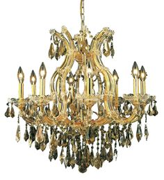 Elegant Lighting - 2801 Maria Theresa Collection Hanging Fixture D26in H26in Lt:8+1 Gold Finish (Royal Cut Golden Teak)