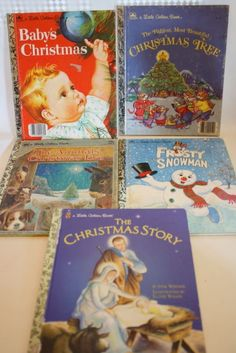 LOT of 5 Christmas Little Golden Books Hardcover Vintage