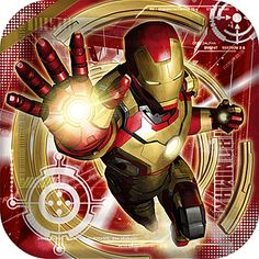 Our Iron Man 3 Dessert Plates show Iron Man flying upwards on a background filled of red and gold. Sold in packages of eight.