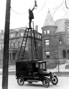 Ford Model T Street Light Maintenance Truck.  I know his mother did not see this rickety setup.