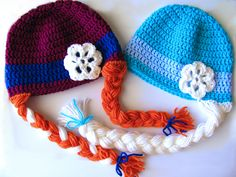 Made-to-order hand crocheted Anna and Elsa wig hat set inspired by the movie Frozen! Become an Ice Queen and Princess in these hats. Can be made in any size (toddler, child, adult). Made using 100% acrylic yarn. See my other listing if you would like just one Anna or Elsa hat. Because these ar...