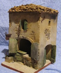 pesebres en icopor - Buscar con Google Clay Houses, Ceramic Houses, Miniature Houses, Nativity House, Christmas Nativity Scene, Pottery Houses, Woodland House, Ceramics Projects, Fairy Houses