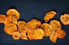 Zdrowe chipsy z batatów Sweet Potato, Potatoes, Cookies, Vegetables, Desserts, Food, Crack Crackers, Tailgate Desserts, Deserts