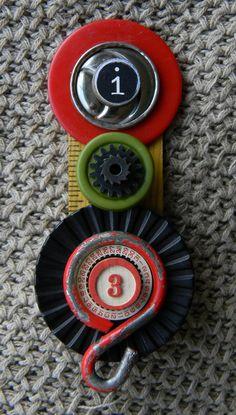 "Art Assemblage Brooch  -  ""3""  -  Found Object  Jewelry www.etsy.com/shop/redhardwick"
