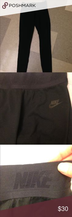 Nike Leggings Black Nike Leggings Size S. doesnt fit me, so Im selling. originally $82. The only flaw is the back of the band at the top (cant see it when its on) super cute and comfy! has heel-holes for yoga :) Nike Pants Leggings