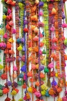 (via Pom pom power.   weaving   Pinterest   Love Affair, Textiles and Pom Poms)