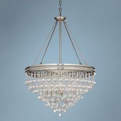 "Regina Brushed Nickel 28"" Wide Crystal Ceiling Light - #4F038 | LampsPlus.com"