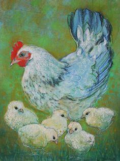 art by Loes Botman (Dutch) Farm Paintings, Simple Canvas Paintings, Chicken Painting, Chicken Art, Watercolor Bird, Watercolor Paintings, Loro Animal, Chicken Illustration, Tea Bag Art