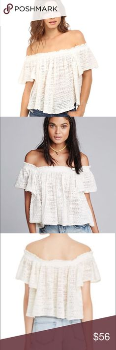 NWT FREE PEOPLE Off-The-Shoulder Frills & Thrills NWT! A swingy off-the-shoulder top made with burnout texture and breezy silhouette. Slips on over head. // Off the shoulder neck // 81% cotton & 19% nylon // Dry clean or hand wash // Color: Ivory // Size M Free People Tops