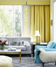 yellow/grey/blue living room with a SHEEP!