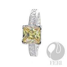First Impression Ring - 925 fine sterling silver, 0.1 micron natural rhodium, AAA white and gold cubic zirconia, affordable luxury.