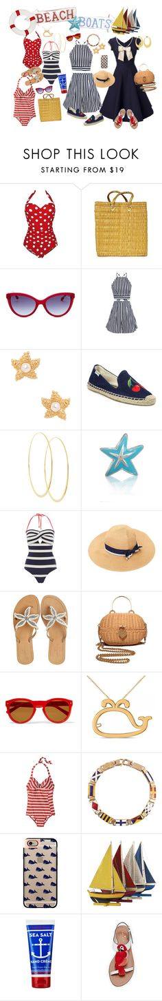 """Beaches and boats."" by interesting-times ❤ liked on Polyvore featuring Roberto Cavalli, Kenneth Jay Lane, Retrò, Soludos, Lana, Bling Jewelry, Ted Baker, ASPIGA, Chanel and rag & bone"