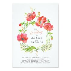 Made in 24 hours. Custom Watercolor Poppy Wreath Wedding Invitations. This invitation design is available on many paper types and is completely custom printed.