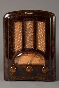 Incredible Circassian Onyx Brown Catalin 1937 Emerson Tombstone Radio || Emerson AU-190 Catalin Radio Beautiful Marbleized Brown  - Rare (RA269)