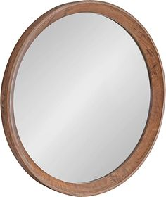 """AmazonSmile: Kate and Laurel Hartman Transitional Round Wood Framed Wall Mirror, 30"""" Diameter, Brown, Boho Chic Round Mirror for Wall: Kitchen & Dining"""