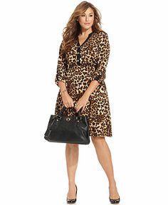 Plus size leopard print cocktail dress