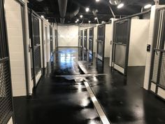 Rubber flooring can make all the difference, just ask Rickenbacker International Airport. This photo features #slidingstalls and #rubberflooring for a safe and functional walkway. #equine #horses #horsestalls