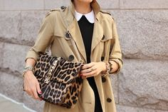 Camel trench coat, leopard print and lots of lovely gold #Autumn #Perfection
