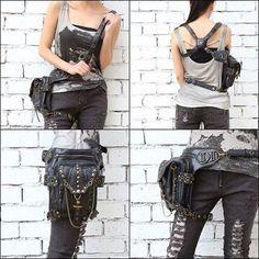 Gothic Leather Messenger Bag