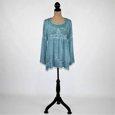 Turquoise Blue Peasant Blouse Hippie Clothes Boho Top Babydoll