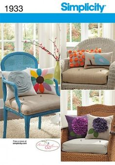 *3 Day Pattern Blowout.$1.00 off with coupon code PATTERNS12 at checkout*  Throw Pillows Patterns Wool Felt Applique Bird Flower Simplicity 1933