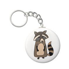 Funky Raccoon Cartoon Key Chain #raccoons #funny #keychains #art And www.zazzle.com/tickleyourfunnybone*