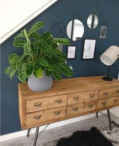 Ook gaaf in de Jaren '30 woonstijl, maar iets gecombineerd met de retro woonstijl. Een plant geeft hier leven. De jeansblauwe muur is schitterend. Een goede combinatie en warm aangekleed.