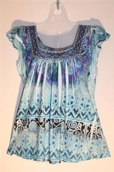 NEW ~ One World ~ Sea Blue Green Lace Silky Soft Blouse Top Size L