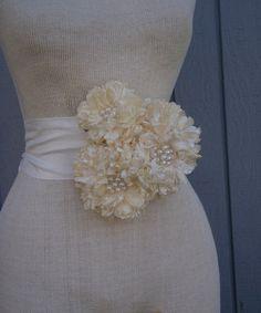 Sash , belt, bridal sash, wedding  Sash With three Unique Design  flowers off white and ivory color