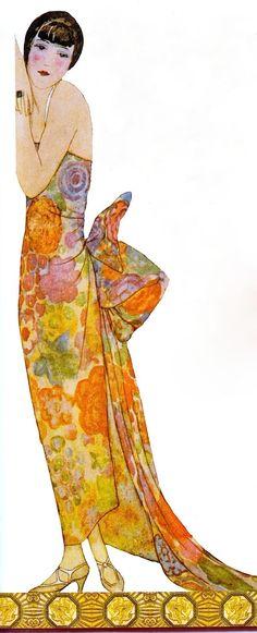 LE POUF 1924 (Robe du Soir)Jean Bernier & Leon Baskst for Gazette du Bon Ton (from Art Deco the Golden Age of Graphic Art & Illustration by Michael Robinson & Rosalind Ormiston 2013) please follow minkshmink on pinterest) #flapper #twenties #jazzera #artdeco #fan #eveningdress