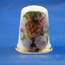 FINE CHINA THIMBLE - GINGER CAT IN PINK ROSES