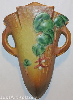 Roseville Pottery Fuchsia Brown Wall Pocket 1282-8 from Just Art Pottery