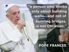 """19 FEB: Pope Francis met journalists aboard his plane during the flight from Ciudad Juarez to Rome Italy at the end of a six-day trip to Mexico. The Pope questioned US Republican presidential candidate Donald Trump's Christianity over his call to build a border wall with Mexico. Pope Francis said """"a person who thinks only about building walls... and not of building bridges is not Christian"""". The New York businessman supports deporting nearly 11 million undocumented immigrants. Calling…"""