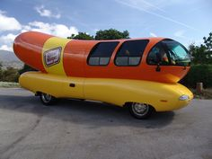 Weinermobile.  (I almost knocked myself out when I got to go in the weinermobile. That roof is LOW!)