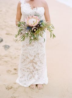 protea beach bouquet - photo by Austin Gros - view more:  http://ruffledblog.com/elegant-oahu-wedding/