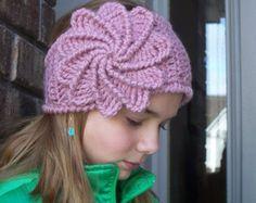 Crochet Spiral Flower Headband W/Button Closure
