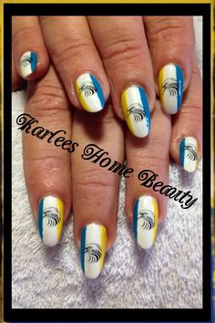 Was my pleasure to do these long awaited west coast eagles football club nails.  Acrylic nails with @kleancolor - white, neon aqua and neon yellow and eagle water decals from @lynzyrnails @yrnails