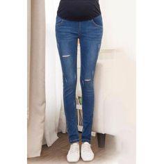 Stylish Frayed Broken Hole Elastic Waist Maternity Jeans For Women