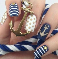 Blue, White & Gold Anchor nails. So Cute must do this next!!
