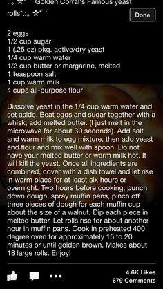 Golden Corral yeast rolls