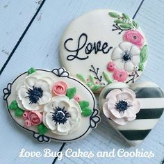 Black & White Stripe Anemone Kate Spade Inspired Love Cookies