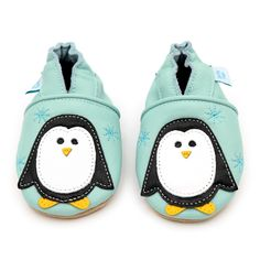 Mint with Black and White Penguin – Dotty Fish Soft Leather Baby and Toddler Shoes