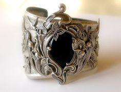 Floral Silver Cuff - Black Onyx Gemstone on Silver Bracelet - Art Nouveau - Victorian Jewelry. $180.00, via Etsy.